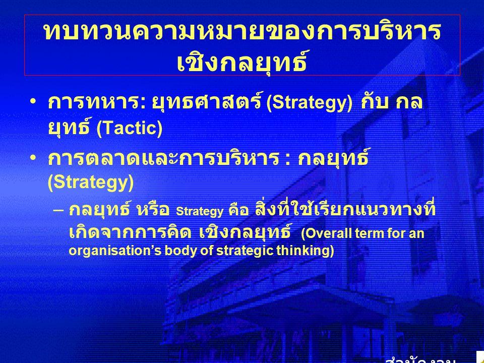 ทบทวนความหมายของการบริหาร เชิงกลยุทธ์ การทหาร : ยุทธศาสตร์ (Strategy) กับ กล ยุทธ์ (Tactic) การตลาดและการบริหาร : กลยุทธ์ (Strategy) – กลยุทธ์ หรือ St