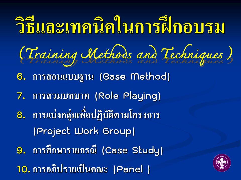 6. การสอนแบบฐาน (Base Method) 7. การสวมบทบาท (Role Playing) 8. การแบ่งกลุ่มเพื่อปฏิบัติตามโครงการ (Project Work Group) 9. การศึกษารายกรณี (Case Study)