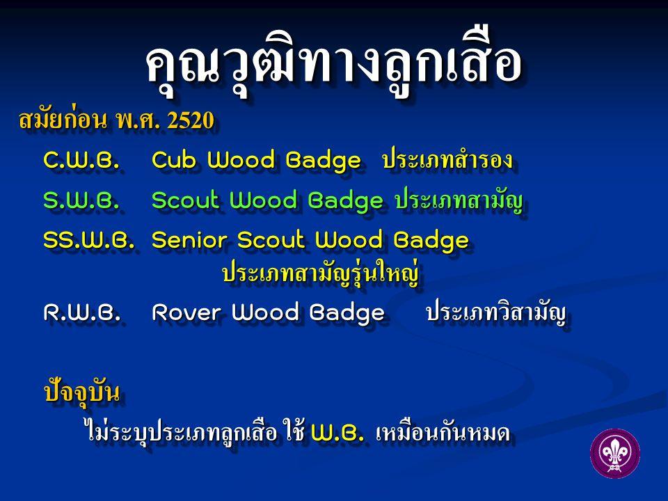 คุณวุฒิทางลูกเสือคุณวุฒิทางลูกเสือ สมัยก่อน พ. ศ. 2520 C.W.B.Cub Wood Badge ประเภทสำรอง S.W.B. Scout Wood Badge ประเภทสามัญ SS.W.B.Senior Scout Wood B