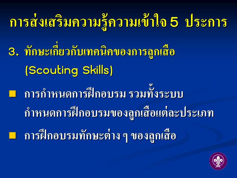 3. ทักษะเกี่ยวกับเทคนิคของการลูกเสือ (Scouting Skills) การกำหนดการฝึกอบรม รวมทั้งระบบ กำหนดการฝึกอบรมของลูกเสือแต่ละประเภท การกำหนดการฝึกอบรม รวมทั้งร