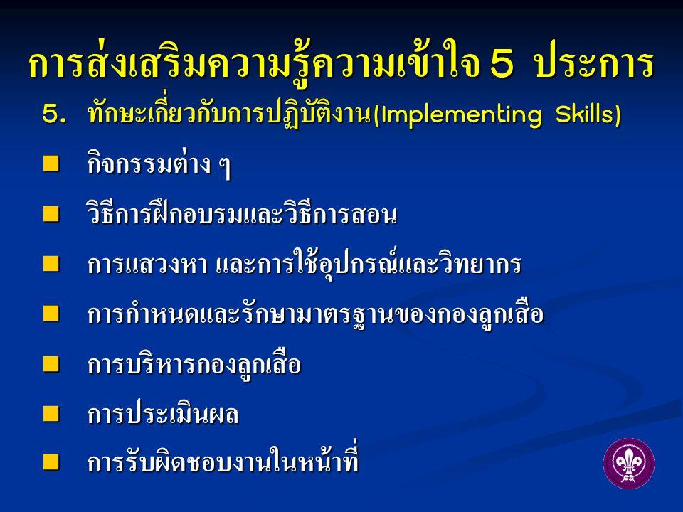 5. ทักษะเกี่ยวกับการปฏิบัติงาน (Implementing Skills) กิจกรรมต่าง ๆ กิจกรรมต่าง ๆ วิธีการฝึกอบรมและวิธีการสอน วิธีการฝึกอบรมและวิธีการสอน การแสวงหา และ