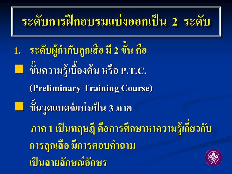 ระดับการฝึกอบรมแบ่งออกเป็น 2 ระดับ  ระดับผู้กำกับลูกเสือ มี 2 ขั้น คือ ขั้นความรู้เบื้องต้น หรือ P.T.C. (Preliminary Training Course) ขั้นความรู้เบื