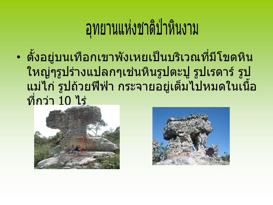 ตั้งอยู่บนเทือกเขาพังเหยเป็นบริเวณที่มีโขดหิน ใหญ่ๆรูปร่างแปลกๆเช่นหินรูปตะปู รูปเรดาร์ รูป แม่ไก่ รูปถ้วยฟีฟ่า กระจายอยู่เต็มไปหมดในเนื้อ ที่กว่า 10