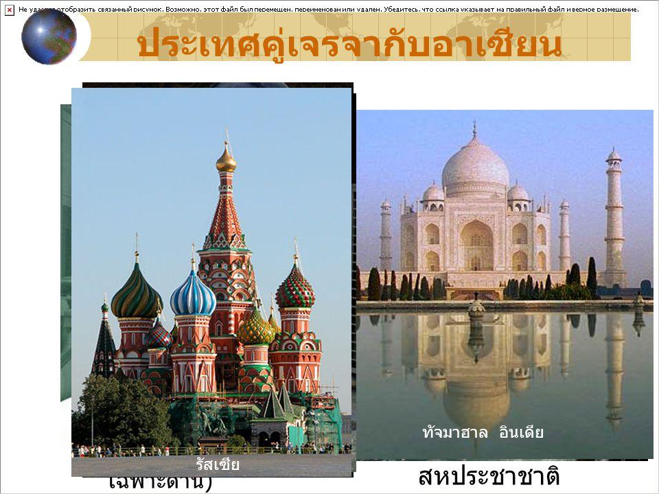 สหรัฐอเมริกา แคนาดา ออสเตรเลีย นิวซีแลนด์ อินเดีย ปากีสถาน ( คู่เจรจา เฉพาะด้าน ) จีน เกาหลีใต้ ญี่ปุ่น รัสเซีย สหภาพยุโรป โครงการเพื่อการ พัฒนาแห่ง สหประชาชาติ ประเทศคู่เจรจากับอาเซียน น้ำตกไนแองการา ประเทศแคนาดา เทพีเสรีภาพ สหรัฐอเมริกา โอเปราเฮาส์ ออสเตรเลีย ทิวทัศน์ นิวซีแลนด์ ทัจมาฮาล อินเดีย ภาพยนตร์จีน ชุดกิโมโน ญี่ปุ่น ละคร เกาหลี รัสเซีย