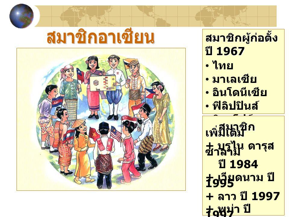 สมาชิกผู้ก่อตั้ง ปี 1967 ไทย มาเลเซีย อินโดนีเซีย ฟิลิปปินส์ สิงคโปร์ สมาชิก เพิ่มเติม สมาชิก เพิ่มเติม + บรูไน ดารุส ซาลาม ปี 1984 + เวียดนาม ปี 1995 + ลาว ปี 1997 + พม่า ปี 1997 + กัมพูชา ปี 1999