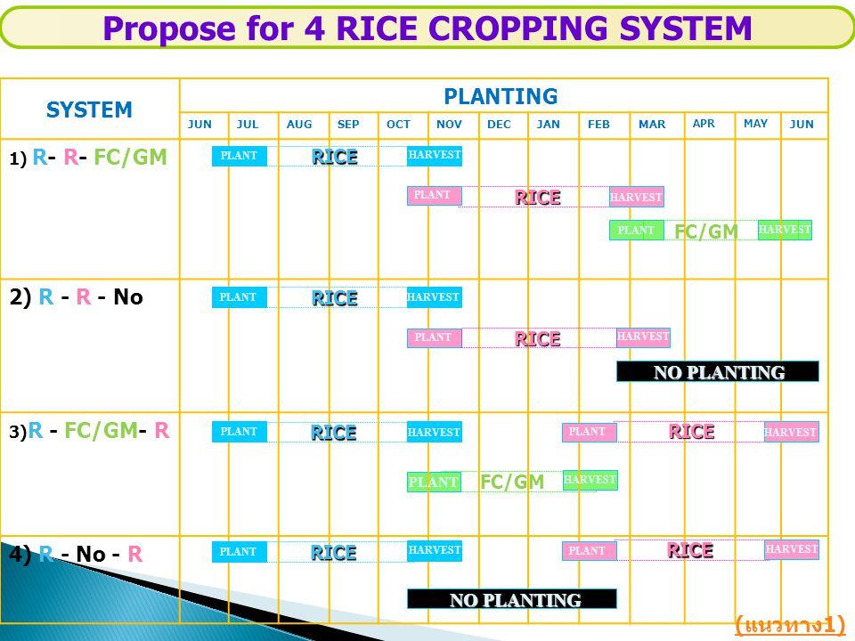 SYSTEM PLANTING JUNJULAUGSEPOCTNOVDECJANFEBMAR APRMAY JUN 1) R- R- FC/GM 2) R - R - No 3) R - FC/GM- R 4) R - No - R RICE PLANT HARVEST RICE FC/GM HAR