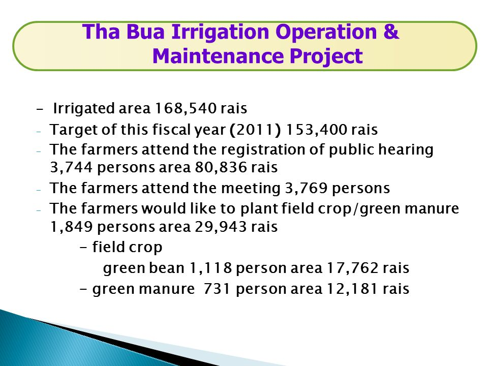 - Irrigated area 168,540 rais - Target of this fiscal year (2011) 153,400 rais - The farmers attend the registration of public hearing 3,744 persons a