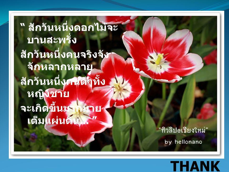 """"""" สักวันหนึ่งดอกไม้จะ บานสะพรั่ง สักวันหนึ่งคนจริงจัง จักหลากหลาย สักวันหนึ่งคนดีๆทั้ง หญิงชาย จะเกิดขึ้นมากมาย เต็มแผ่นดิน... """" THANK YOU"""