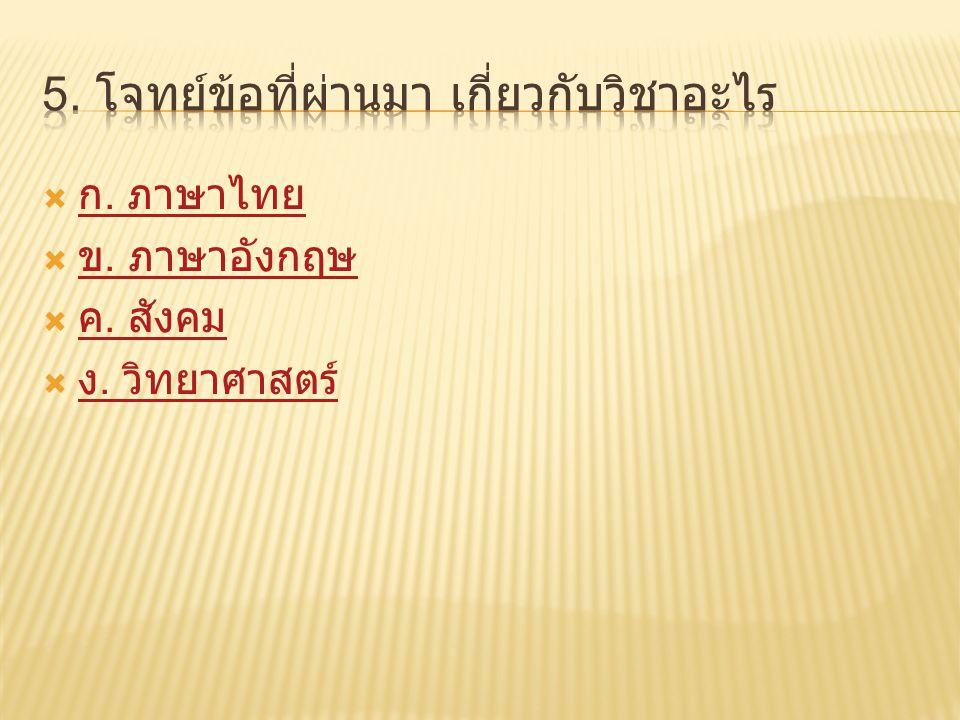  ก. ภาษาไทย ก. ภาษาไทย  ข. ภาษาอังกฤษ ข. ภาษาอังกฤษ  ค. สังคม ค. สังคม  ง. วิทยาศาสตร์ ง. วิทยาศาสตร์