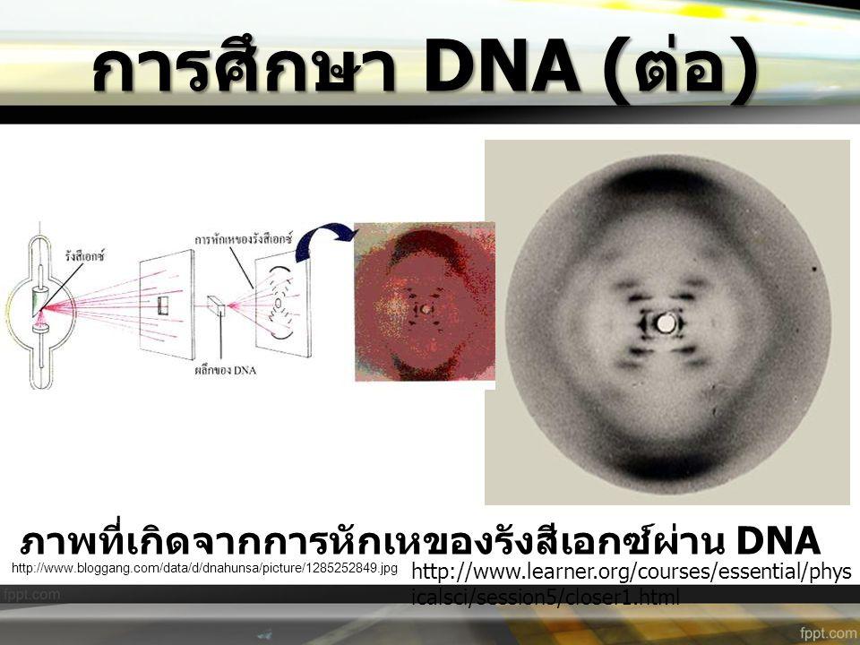การศึกษา DNA ( ต่อ ) ภาพที่เกิดจากการหักเหของรังสีเอกซ์ผ่าน DNA http://www.learner.org/courses/essential/phys icalsci/session5/closer1.html http://www