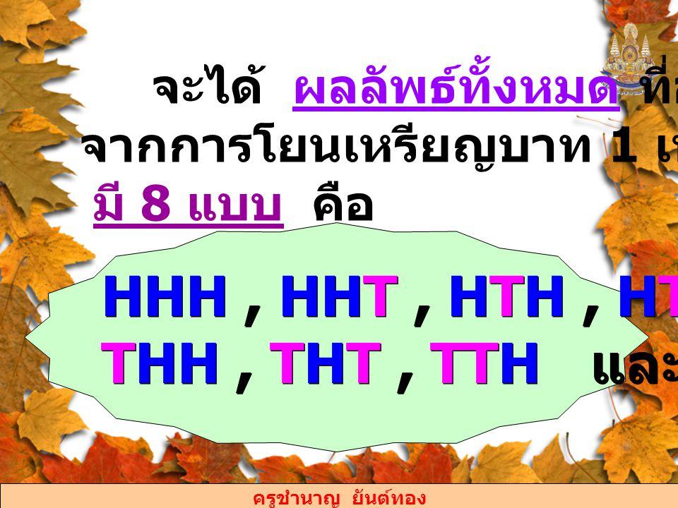 ครูชำนาญ ยันต์ทอง 1) เหตุการณ์ที่จะออกก้อย 1 ครั้ง มีผลลัพธ์ 3 แบบ คือ HHT, HTH, และ THH 2) เหตุการณ์ที่จะออกหัวน้อยกว่า ออกก้อย มีผลลัพธ์ 4 แบบ คือ HTT, THT, TTH และ TTT