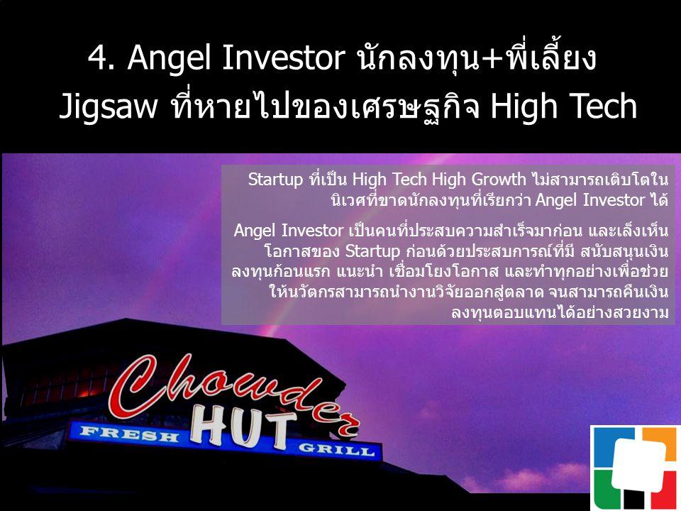 4. Angel Investor นักลงทุน+พี่เลี้ยง Jigsaw ที่หายไปของเศรษฐกิจ High Tech Startup ที่เป็น High Tech High Growth ไม่สามารถเติบโตใน นิเวศที่ขาดนักลงทุนท