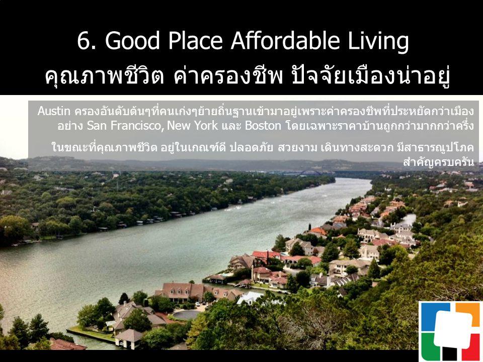 6. Good Place Affordable Living คุณภาพชีวิต ค่าครองชีพ ปัจจัยเมืองน่าอยู่ Austin ครองอันดับต้นๆที่คนเก่งๆย้ายถิ่นฐานเข้ามาอยู่เพราะค่าครองชีพที่ประหยั