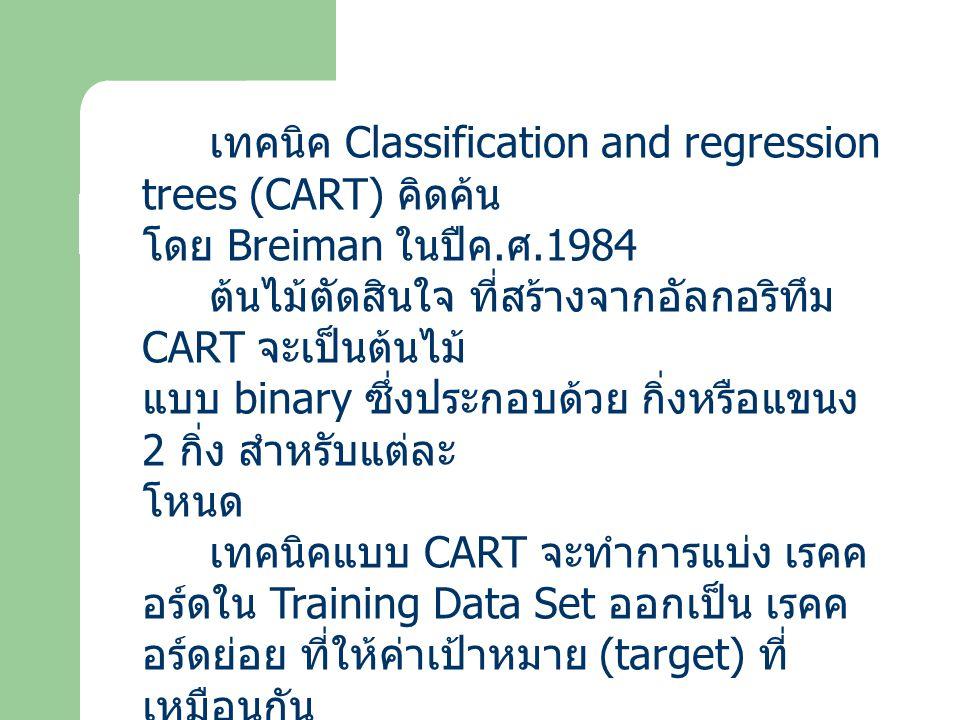 เทคนิค Classification and regression trees (CART) คิดค้น โดย Breiman ในปืค. ศ.1984 ต้นไม้ตัดสินใจ ที่สร้างจากอัลกอริทึม CART จะเป็นต้นไม้ แบบ binary ซ