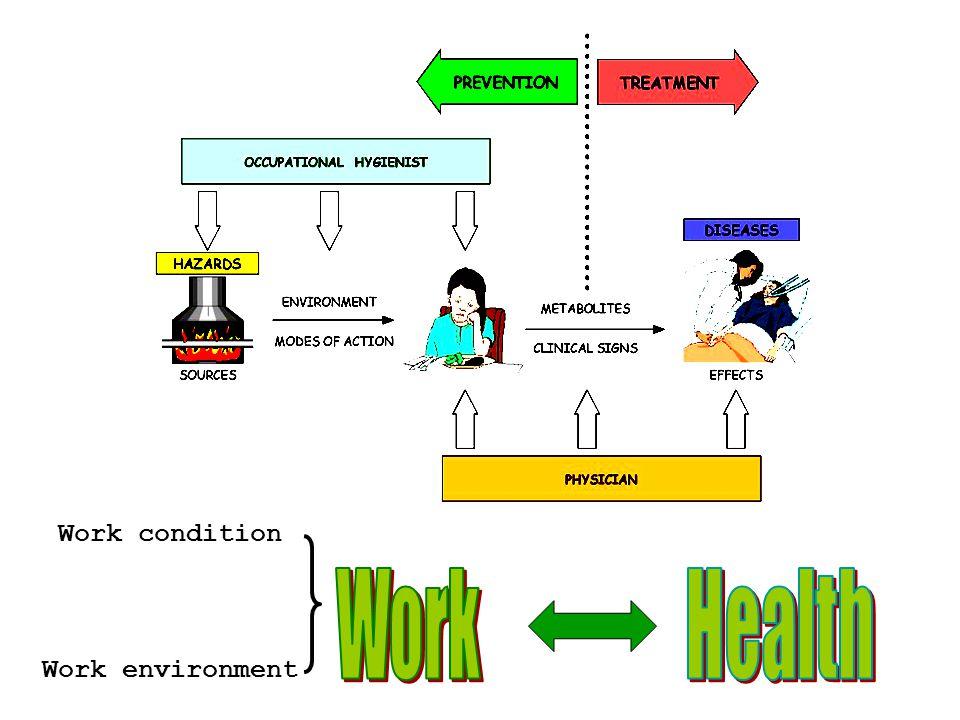 สิ่งคุกคามสุขภาพ (hazards) ลักษณะงาน ท่าทางการ ทำงาน - ทำซ้ำๆ, ยืนนาน งานเครียด ทำงานเป็นกะ สิ่งแวดล้อม กายภาพ – เสียง, แสง, ความดัน, ความร้อน, ฝุ่น สารเคมี เชื้อโรค