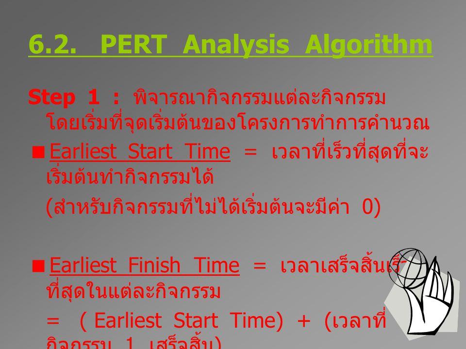 6.2. PERT Analysis Algorithm Step 1 : พิจารณากิจกรรมแต่ละกิจกรรม โดยเริ่มที่จุดเริ่มต้นของโครงการทำการคำนวณ  Earliest Start Time = เวลาที่เร็วที่สุดท