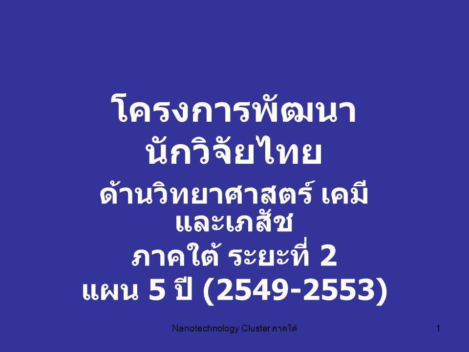 Nanotechnology Cluster ภาคใต้ 1 โครงการพัฒนา นักวิจัยไทย ด้านวิทยาศาสตร์ เคมี และเภสัช ภาคใต้ ระยะที่ 2 แผน 5 ปี (2549-2553)