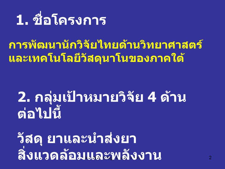 Nanotechnology Cluster ภาคใต้ 2 การพัฒนานักวิจัยไทยด้านวิทยาศาสตร์ และเทคโนโลยีวัสดุนาโนของภาคใต้ 1.