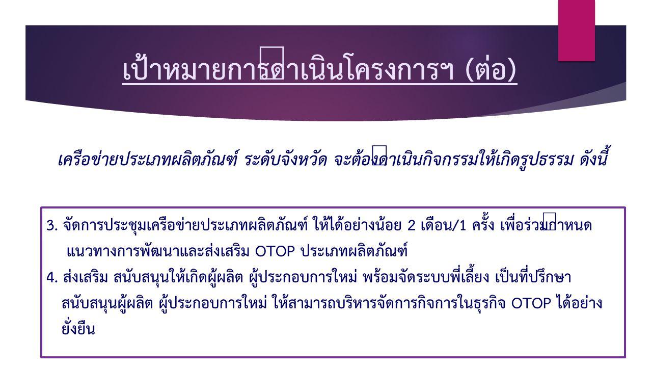 เป้าหมายการดำเนินโครงการฯ (ต่อ) 3.