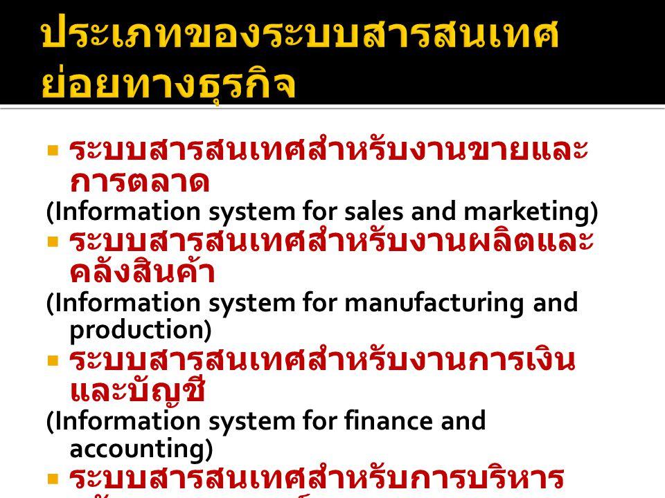  ระบบสารสนเทศสำหรับงานขายและ การตลาด (Information system for sales and marketing)  ระบบสารสนเทศสำหรับงานผลิตและ คลังสินค้า (Information system for m