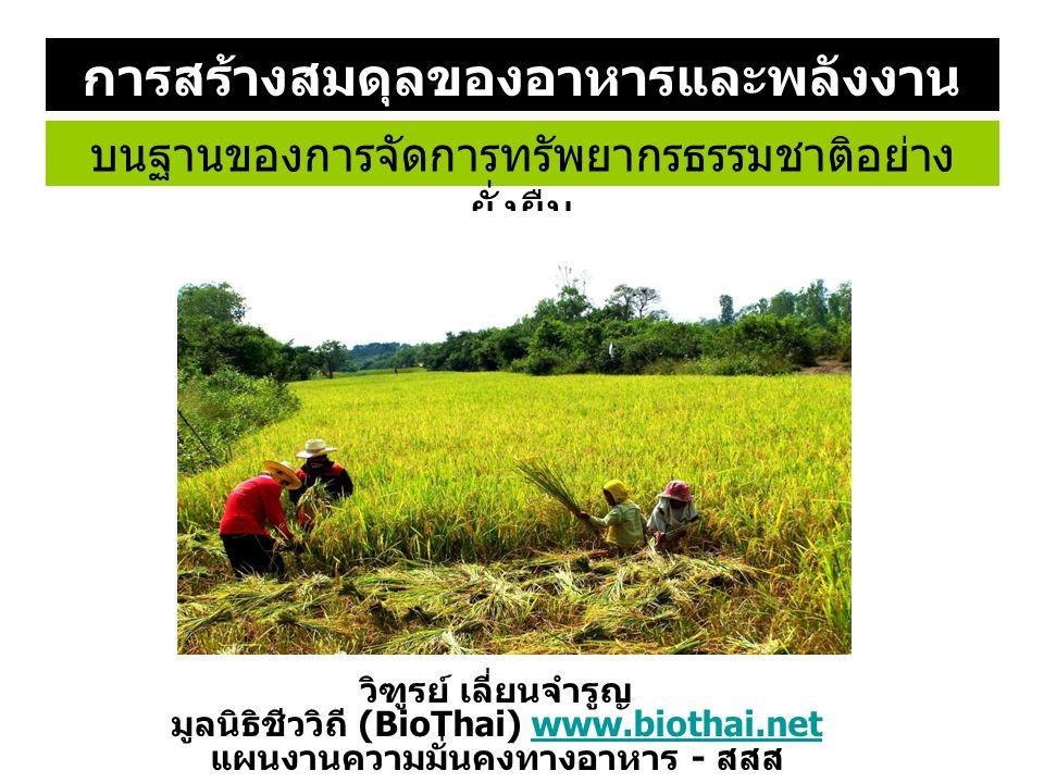 บนฐานของการจัดการทรัพยากรธรรมชาติอย่าง ยั่งยืน การสร้างสมดุลของอาหารและพลังงาน วิฑูรย์ เลี่ยนจำรูญ มูลนิธิชีววิถี (BioThai) www.biothai.netwww.biothai