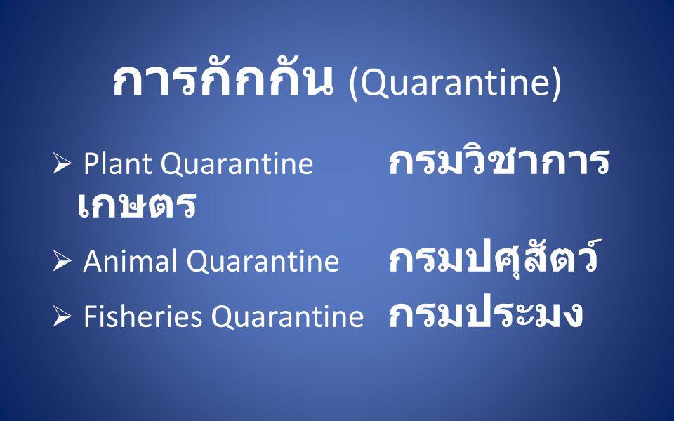 การกักกัน (Quarantine)  Plant Quarantine กรมวิชาการ เกษตร  Animal Quarantine กรมปศุสัตว์  Fisheries Quarantine กรมประมง