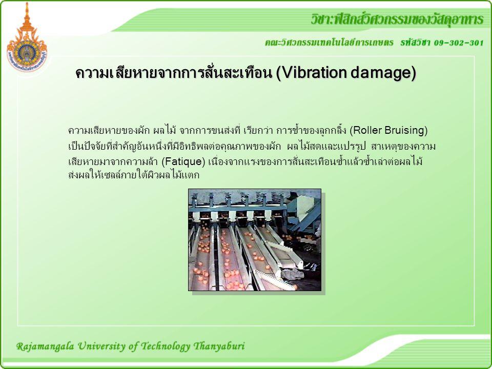 ความเสียหายจากการสั่นสะเทือน (Vibration damage) ความเสียหายของผัก ผลไม้ จากการขนส่งที่ เรียกว่า การช้ำของลูกกลิ้ง (Roller Bruising) เป็นปัจจัยที่สำคัญ