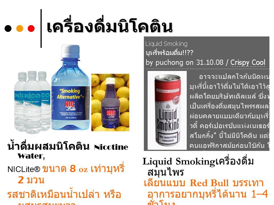เครื่องดื่มนิโคติน น้ำดื่มผสมนิโคติน Nicotine Water, NICLite® ขนาด 8 oz เท่าบุหรี่ 2 มวน รสชาติเหมือนน้ำเปล่า หรือ ผสมรสมะนาว จาก http://www.nicoworldwide.com/http://www.nicoworldwide.com/ Liquid Smoking เครื่องดื่ม สมุนไพร เลียนแบบ Red Bull บรรเทา อาการอยากบุหรี่ได้นาน 1–4 ชั่วโมง จาก http://blog.fukduk.tv/tag/liquid-smoking