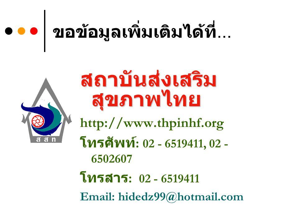 ขอข้อมูลเพิ่มเติมได้ที่... สถาบันส่งเสริม สุขภาพไทย http://www.thpinhf.org โทรศัพท์ : 02 - 6519411, 02 - 6502607 โทรสาร : 02 - 6519411 Email: hidedz99