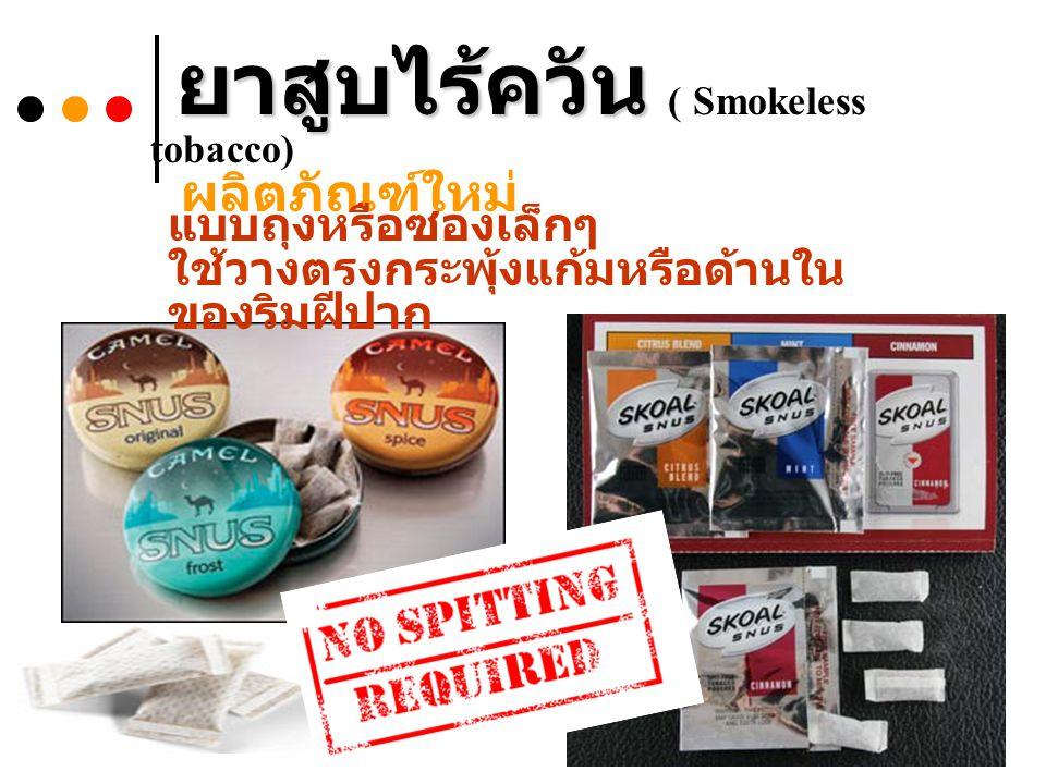 ยาสูบไร้ควัน ยาสูบไร้ควัน ( Smokeless tobacco) ผลิตภัณฑ์ใหม่ แบบถุงหรือซองเล็กๆ ใช้วางตรงกระพุ้งแก้มหรือด้านใน ของริมฝีปาก