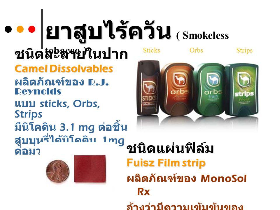 ชนิดละลายในปาก Camel Dissolvables ผลิตภัณฑ์ของ R.J. Reynolds แบบ sticks, Orbs, Strips มีนิโคติน 3.1 mg ต่อชิ้น สูบบุหรี่ได้นิโคติน 1mg ต่อมวน SticksOr