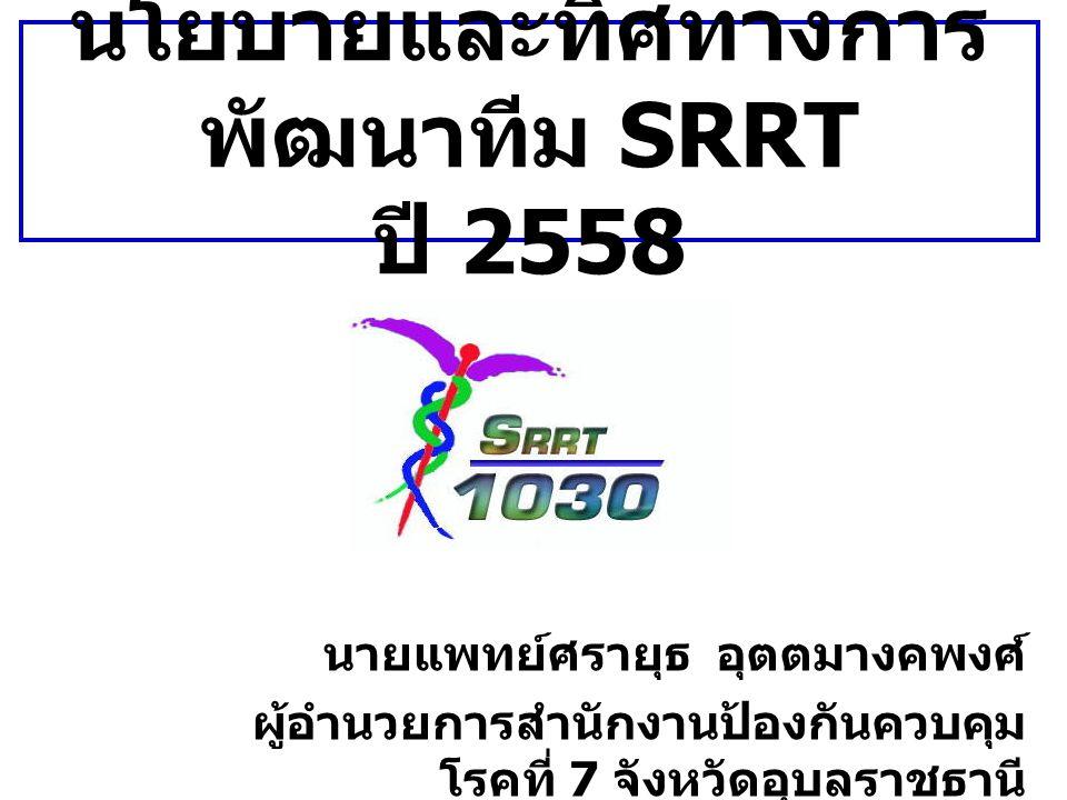 นโยบายและทิศทางการ พัฒนาทีม SRRT ปี 2558 นายแพทย์ศรายุธ อุตตมางคพงศ์ ผู้อำนวยการสำนักงานป้องกันควบคุม โรคที่ 7 จังหวัดอุบลราชธานี