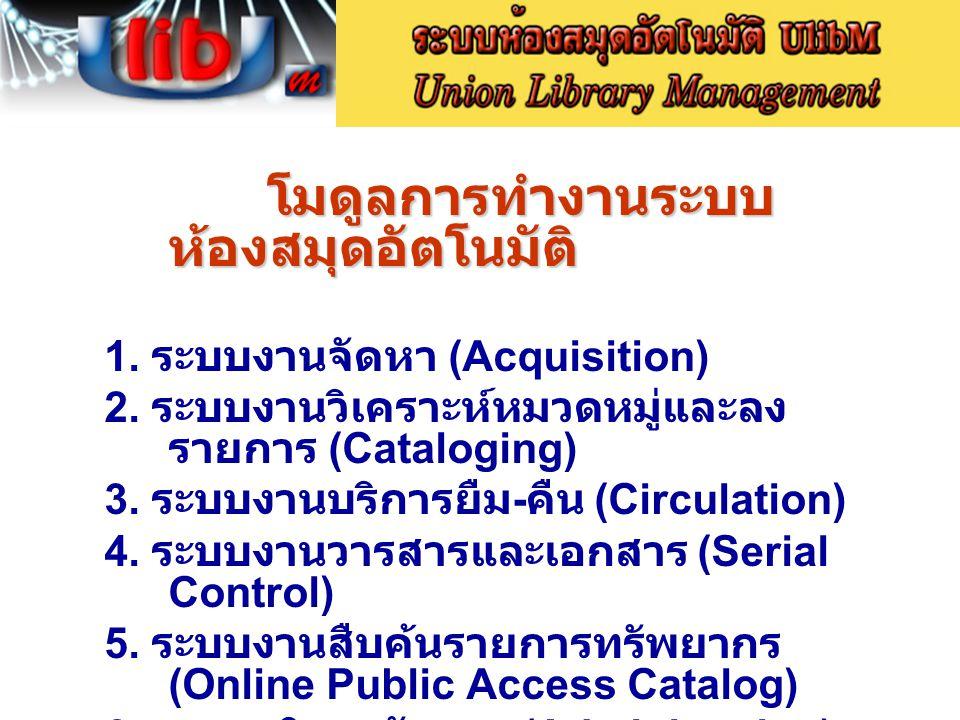 โมดูลการทำงานระบบ ห้องสมุดอัตโนมัติ 1. ระบบงานจัดหา (Acquisition) 2. ระบบงานวิเคราะห์หมวดหมู่และลง รายการ (Cataloging) 3. ระบบงานบริการยืม - คืน (Circ