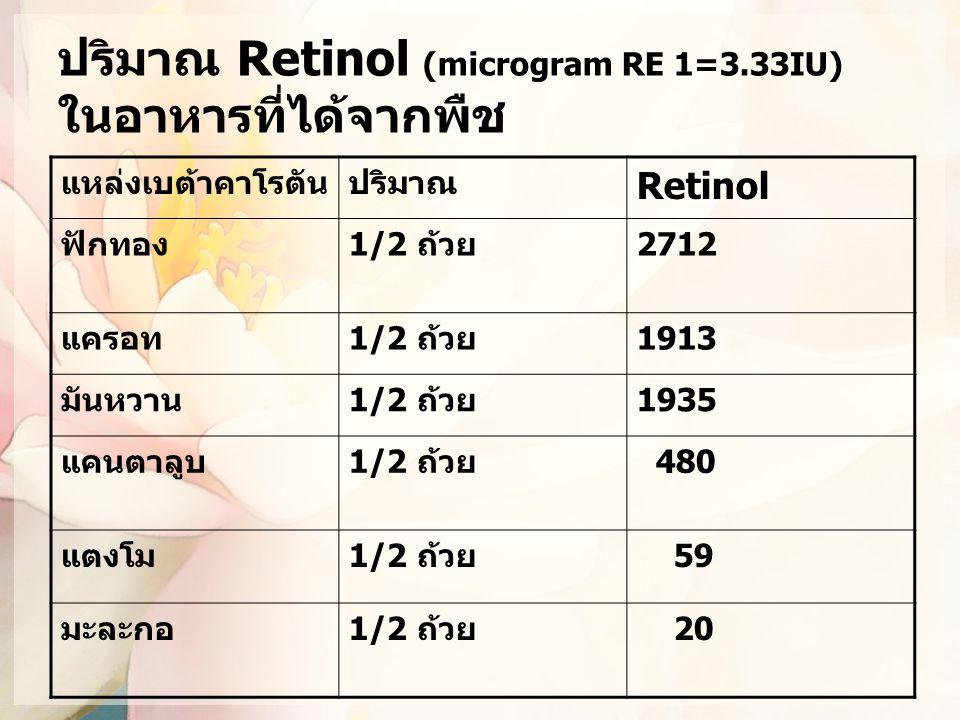ปริมาณ Retinol (microgram RE 1=3.33IU) ในอาหารที่ได้จากพืช แหล่งเบต้าคาโรตันปริมาณ Retinol ฟักทอง1/2 ถ้วย2712 แครอท1/2 ถ้วย1913 มันหวาน1/2 ถ้วย1935 แค