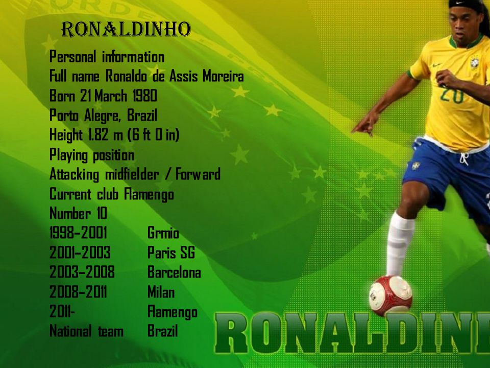 Personal information Full name Ronaldo de Assis Moreira Born 21 March 1980 Porto Alegre, Brazil Height 1.82 m (6 ft 0 in) Playing position Attacking m