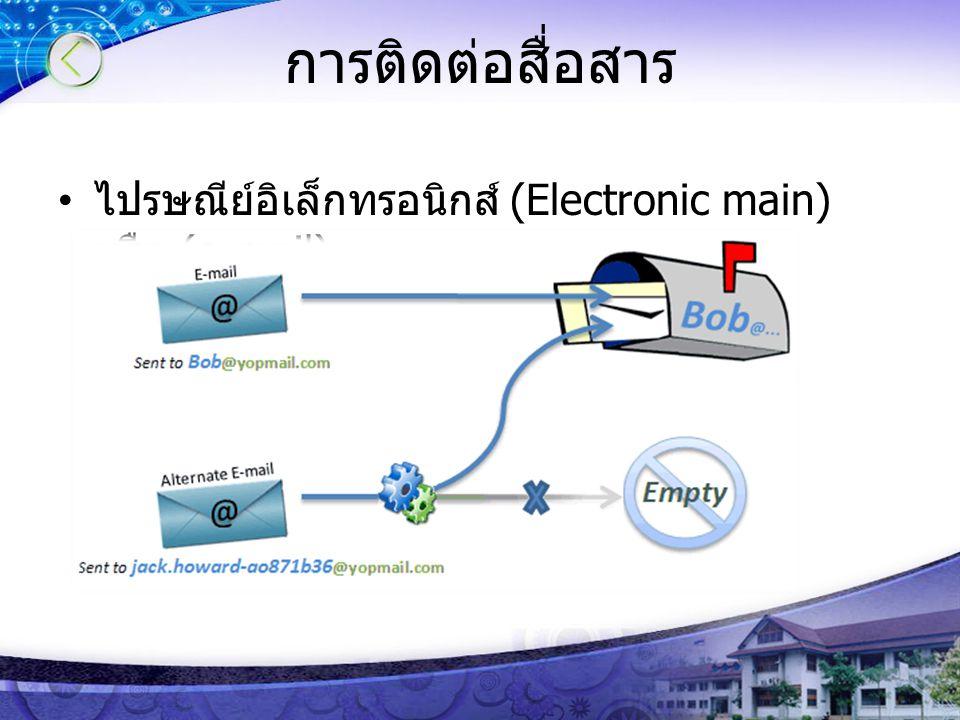 การติดต่อสื่อสาร ไปรษณีย์อิเล็กทรอนิกส์ (Electronic main) หรือ (e-mail)