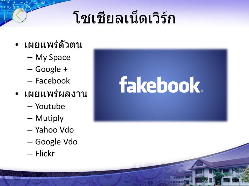โซเชียลเน็ตเวิร์ก เผยแพร่ตัวตน – My Space – Google + – Facebook เผยแพร่ผลงาน – Youtube – Mutiply – Yahoo Vdo – Google Vdo – Flickr
