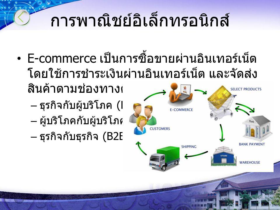 การพาณิชย์อิเล็กทรอนิกส์ E-commerce เป็นการซื้อขายผ่านอินเทอร์เน็ต โดยใช้การชำระเงินผ่านอินเทอร์เน็ต และจัดส่ง สินค้าตามช่องทางต่าง ๆ แบ่งเป็น 3 ประเภ