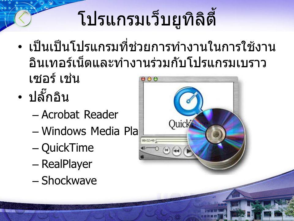 โปรแกรมเว็บยูทิลิตี้ เป็นเป็นโปรแกรมที่ช่วยการทำงานในการใช้งาน อินเทอร์เน็ตและทำงานร่วมกับโปรแกรมเบราว เซอร์ เช่น ปลั๊กอิน –Acrobat Reader –Windows Me