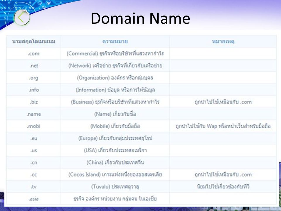 Seconday Level Domain : SLD)