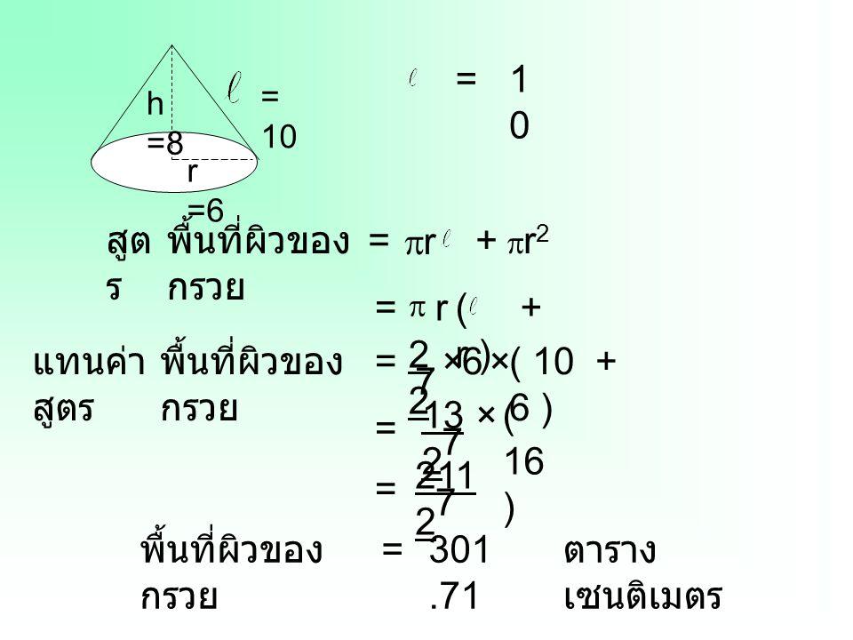 h =8 r =6 = 10 =1010 = r r + r2+ r2 พื้นที่ผิวของ กรวย สูต ร พื้นที่ผิวของ กรวย แทนค่า สูตร =  ( + r ) r = 2 7 ×6×( 10 + 6 ) = 13 2 ×( 16 ) 7 = 2