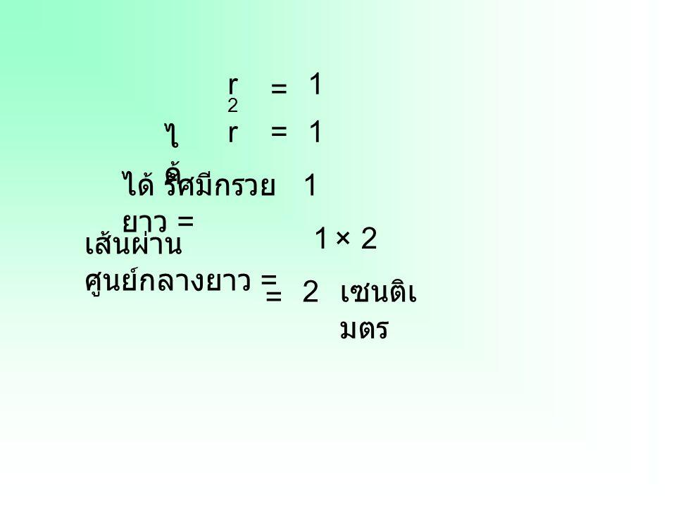 r2r2 = 1 r=1 ไ ด้ เส้นผ่าน ศูนย์กลางยาว = 1×2 = 2 เซนติเ มตร ได้ รัศมีกรวย ยาว = 1