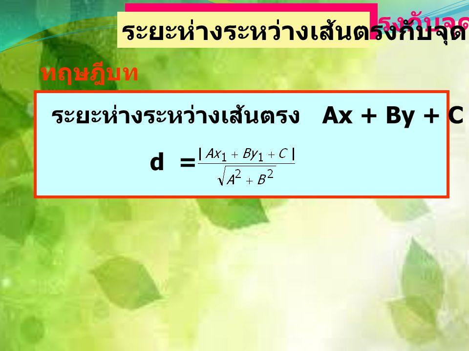 ตัวอย่าง ถ้าเส้นตรงที่ผ่านจุด (k,7) และ (-3,-2) ขนานกับเส้นตรง ที่ผ่านจุด (3,2) และ (1,-4) จงหาค่า k วิธีทำ จะได้ความชันเท่ากันคือ = 18 = 6k + 18 คูณไ