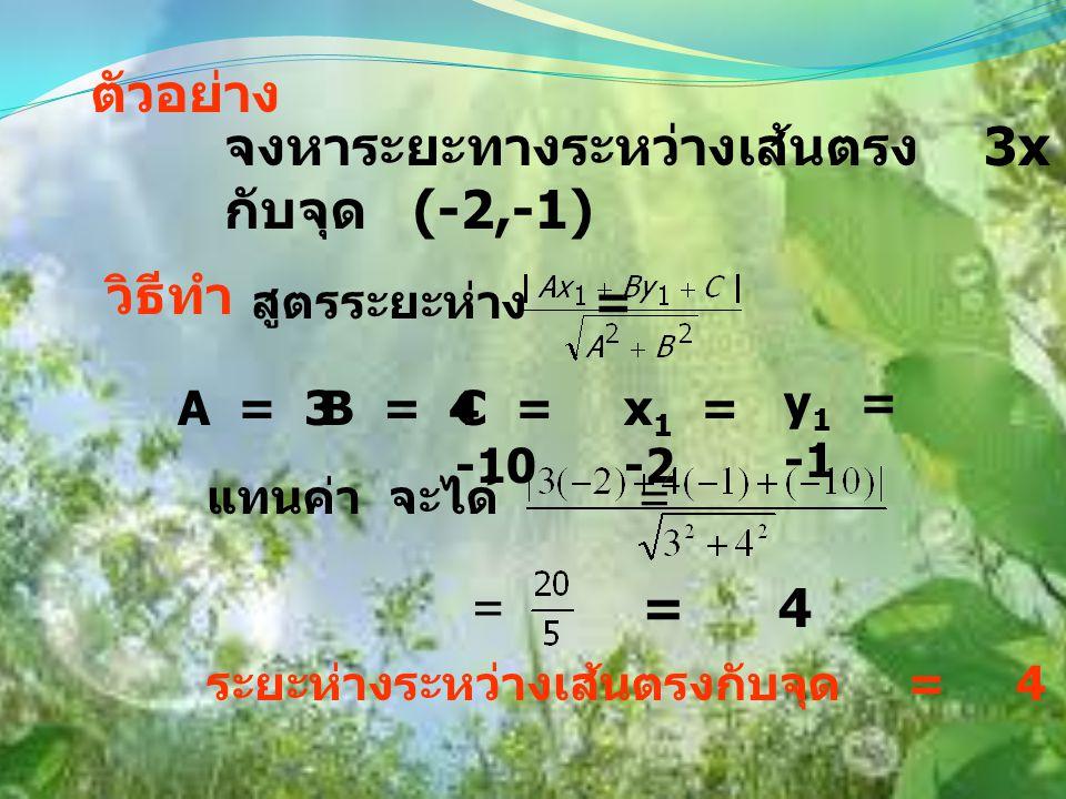 ระยะห่างระหว่างเส้นตรงกับจุด ทฤษฎีบท ระยะห่างระหว่างเส้นตรง Ax + By + C = 0 กับจุด (x 1,y 1 ) d =