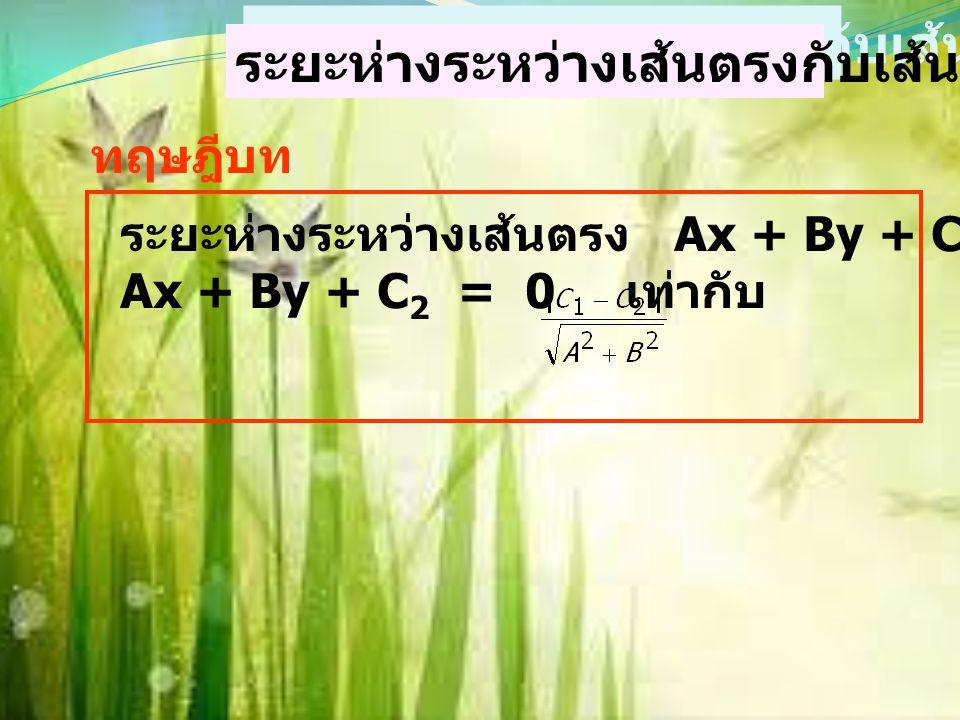 ตัวอย่าง จงหาระยะทางระหว่างเส้นตรง 3x + 4y = 10 กับจุด (-2,-1) วิธีทำ สูตรระยะห่าง = A = 3B = 4C = -10 x 1 = -2 y 1 = -1 แทนค่า จะได้ = = = 4 ระยะห่าง