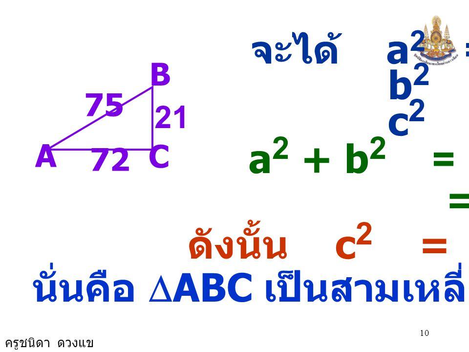 ครูชนิดา ดวงแข 10 จะได้ a 2 = 441 b 2 = 5,184 c 2 = 5,625 a 2 + b 2 = 441 + 5,184 = 5,625 ดังนั้น c 2 = a 2 + b 2 นั่นคือ  ABC เป็นสามเหลี่ยมมุมฉาก A C B 72 75 21
