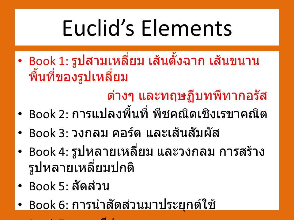 Euclid's Elements Book 1: รูปสามเหลี่ยม เส้นตั้งฉาก เส้นขนาน พื้นที่ของรูปเหลี่ยม ต่างๆ และทฤษฏีบทพีทากอรัส Book 2: การแปลงพื้นที่ พีชคณิตเชิงเรขาคณิต