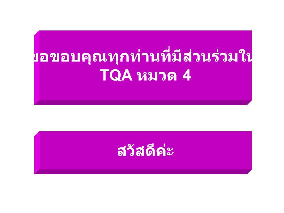 ขอขอบคุณทุกท่านที่มีส่วนร่วมใน TQA หมวด 4 สวัสดีค่ะ