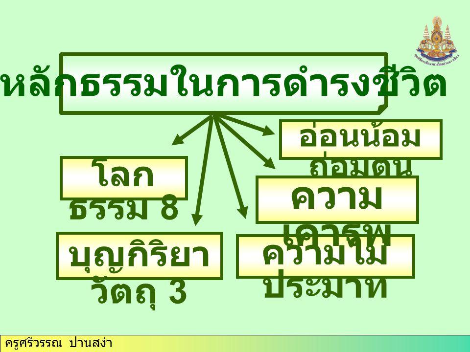 ครูศรีวรรณ ปานสง่า หลักธรรมในการทำความดี สุจริต 3 กตัญญู กตเวที ทุจริต 3