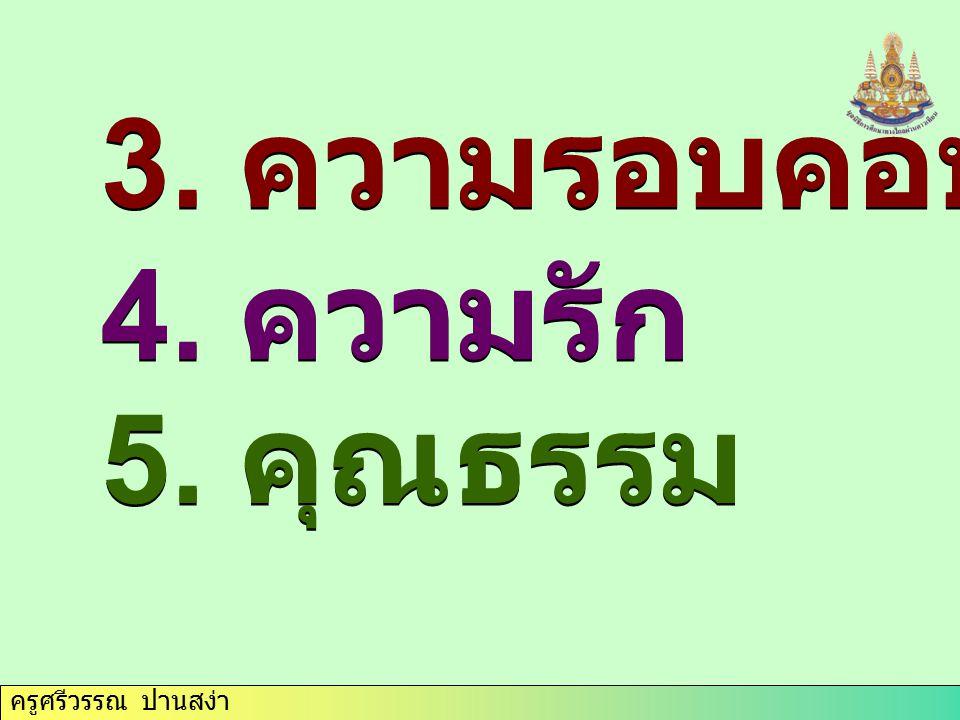 ครูศรีวรรณ ปานสง่า คุณธรรมพื้นฐาน 4 ประการที่ควรเคารพ 1.